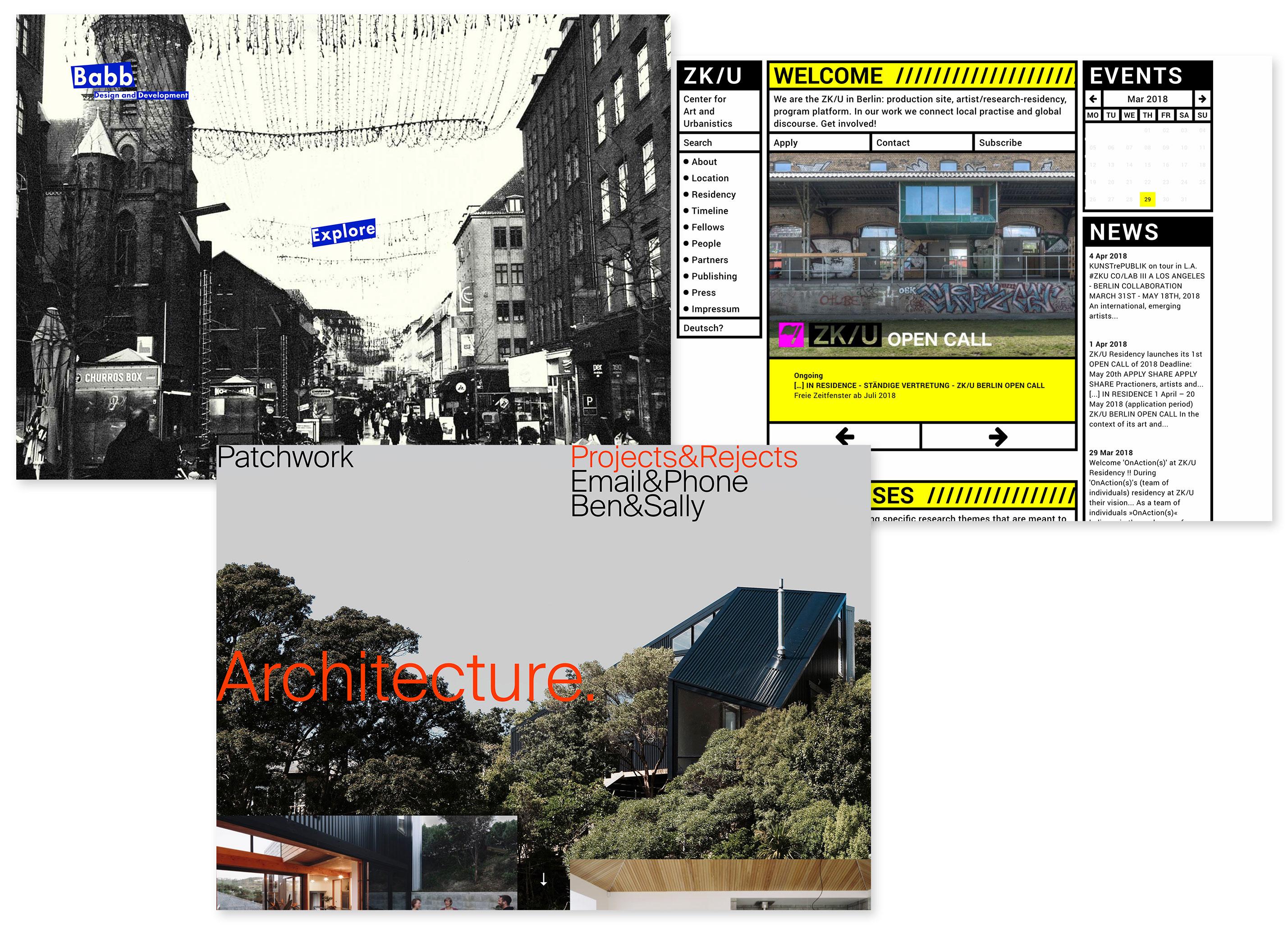 http://christopherbabb.com; http://www.zku-berlin.org; http://patchworkarchitecture.co.nz