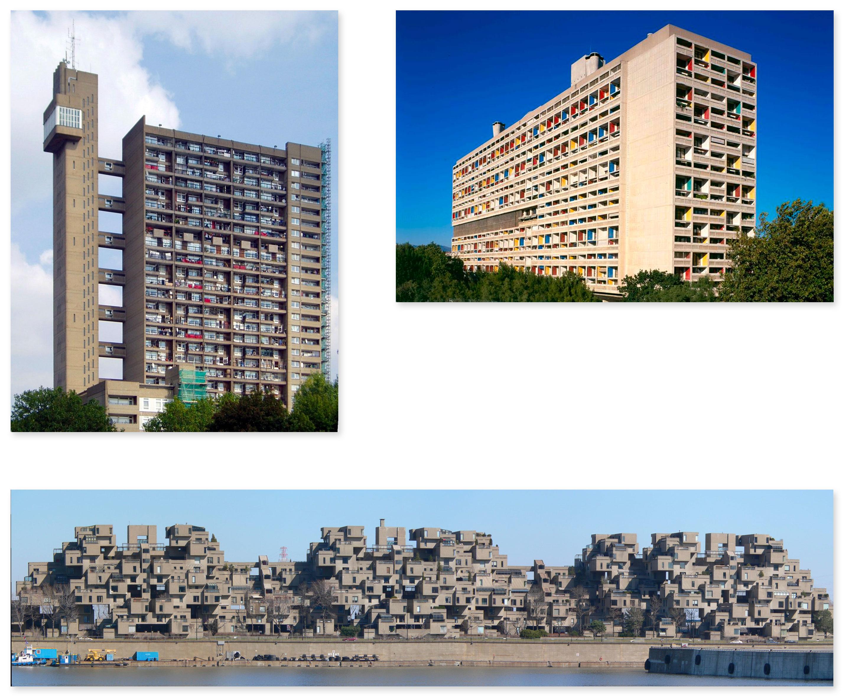 Trellick Tower, London, 1966–1972, designed by Ernő Goldfinger; Le Corbusier's Unité d'habitation in Marseille, France (1952); Habitat 67 in Montreal, Quebec, Canada
