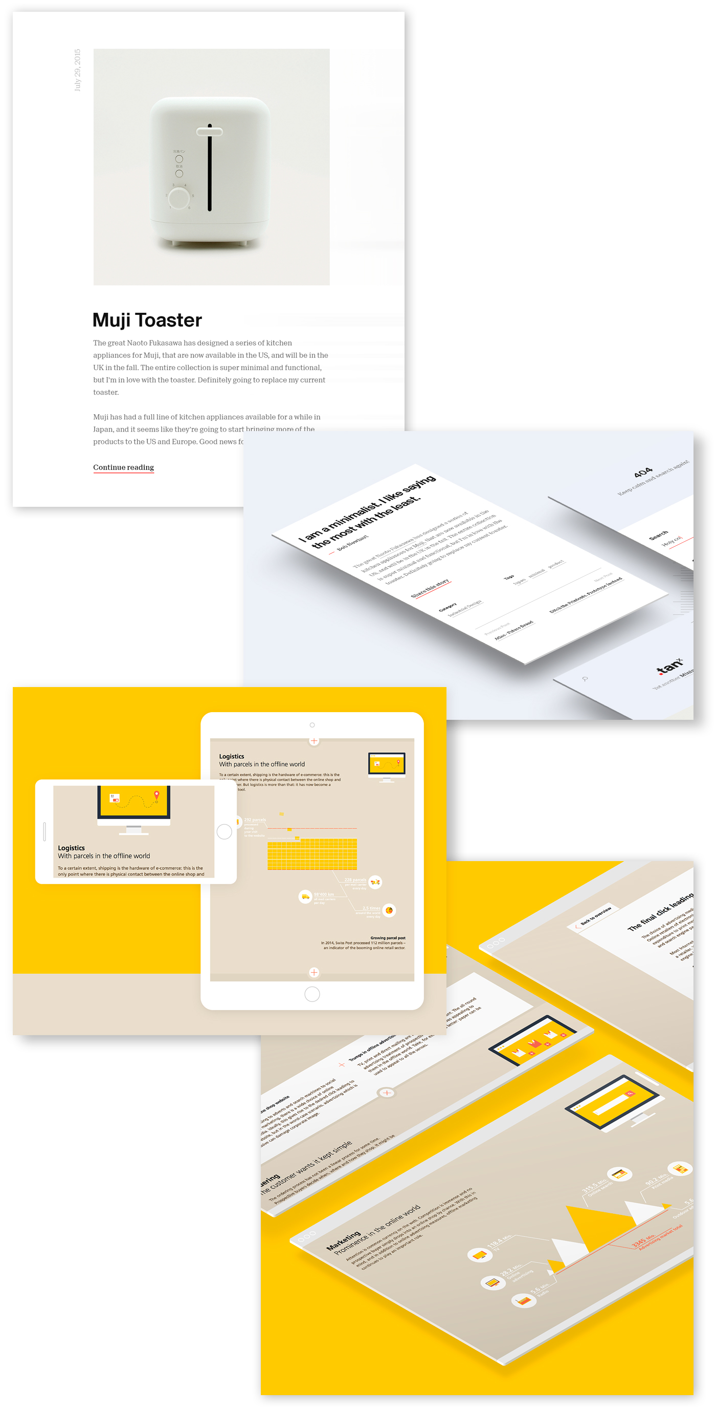 https://www.behance.net/gallery/35177889/TANx-Beautiful-Free-Blog-Wordpress-Theme   https://www.behance.net/gallery/33797548/Animated-Infographic-Microsite-on-E-Commerce