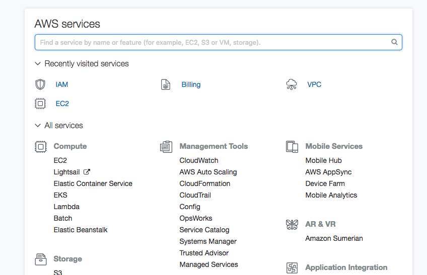 Select VPC on the main dashboard