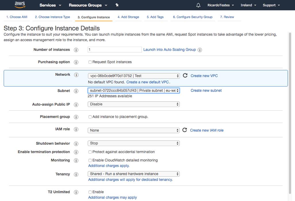 Configure instance details