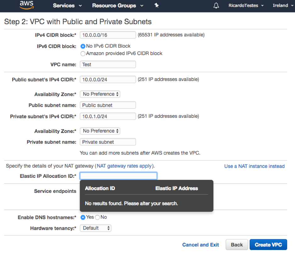 Creating a VPC with public and private subnets