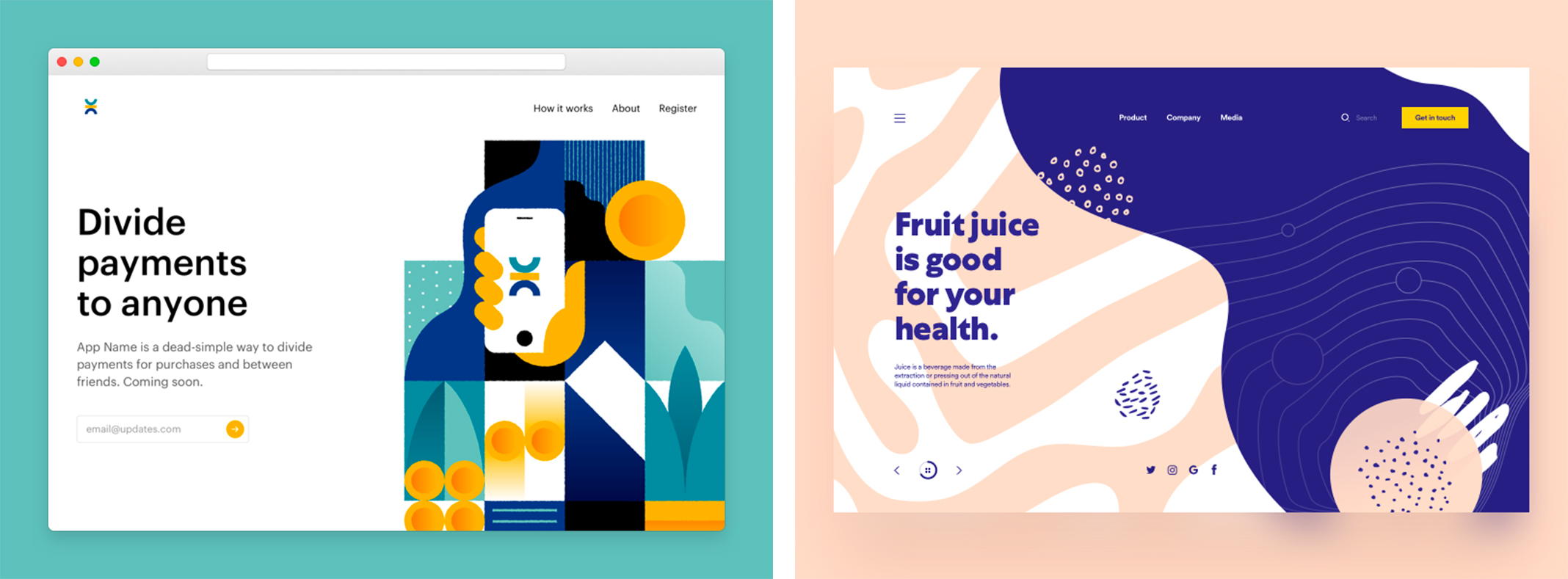 https://dribbble.com/shots/3278766-Marketing-Page & https://dribbble.com/shots/3993210-Organic-Shapes
