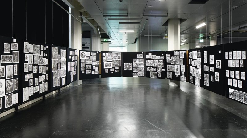 "View of the exhibition ""Aby Warburg. Mnemosyne Bilderatlas"", ZKM 