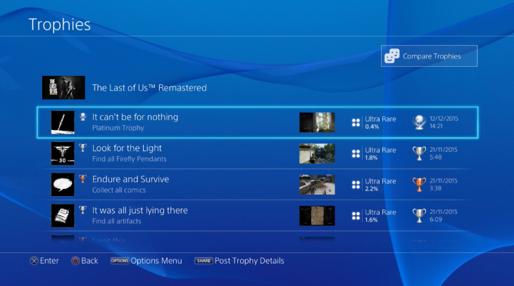 PlayStation 4 trophy screen