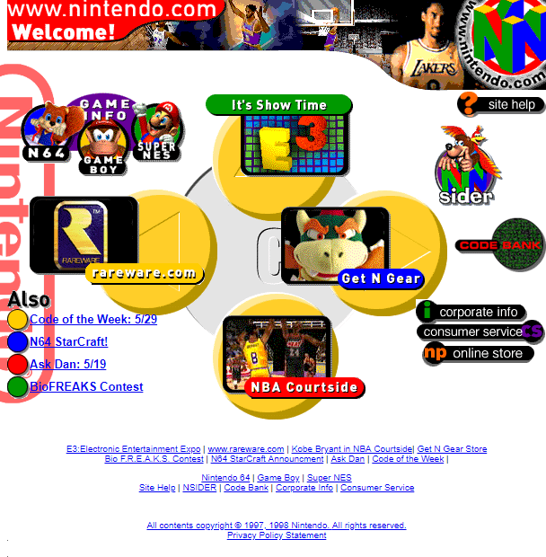 Nintendo Website 1998