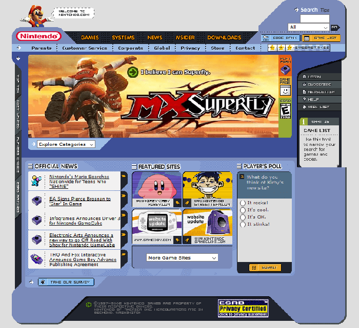 Nintendo Website 2002