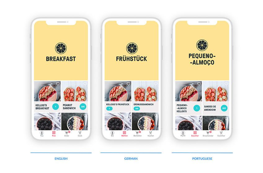 How changing a language affects the UI design: this is Mucho, an app we designed for an online service that helps preparing home meals.