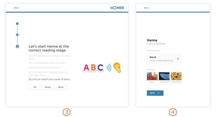 Homer app onboarding journey for parents/educators