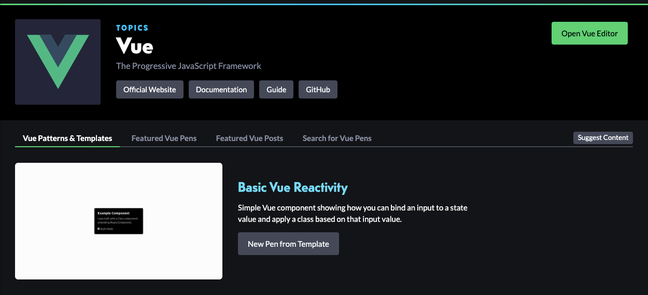 CodePen Vue topic page