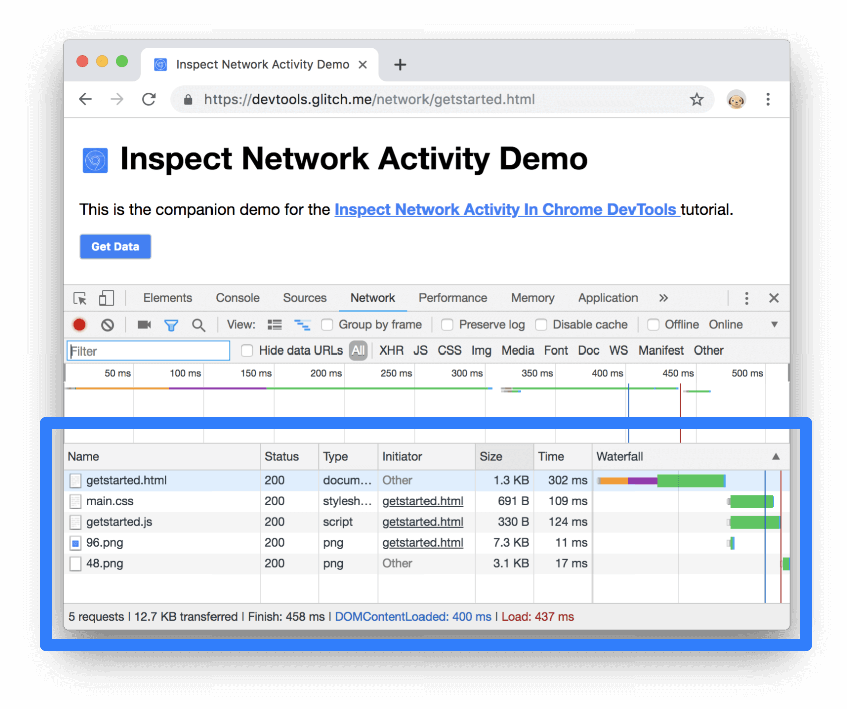 Inspect Network Activity in Chrome Dev Tools