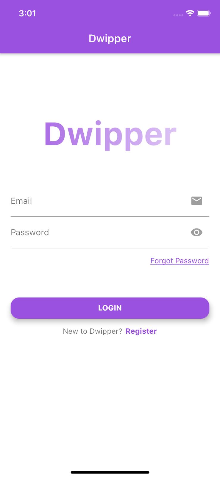 Dwipper login screen in Flutter