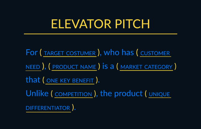 Elevator Pitch Template. Source: Imaginary Cloud