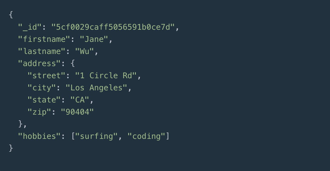 JSON documents in MongoDB